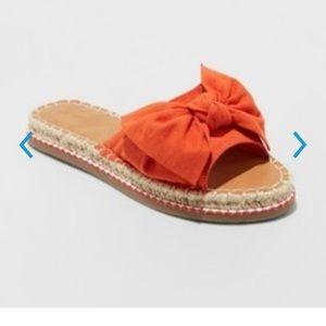 Sigma Espadrille Knotted Bow Sandals Orange